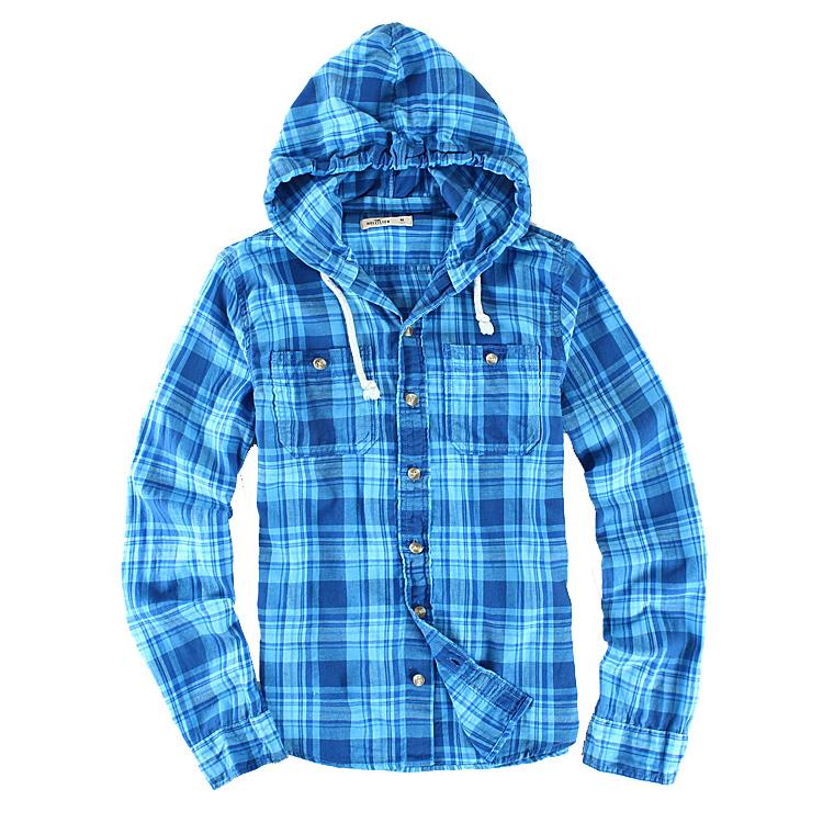 Nieuwe Ontwerp Casual Shirt Met Kap Flanel Shirt Lange Mouwen Geborsteld Katoen Geweven Plaid Shirt Voor Man