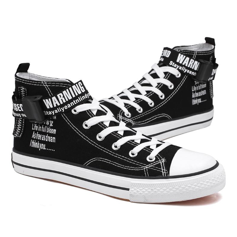 Wholesale Black White Classic Men High Top Flat Casual Sneaker Canvas Shoes