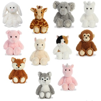 Stuffed plush animal soft toy assortment tiger/elephant/monkey/zebra/lion/unicorn for promotional plush toys stuffed animal