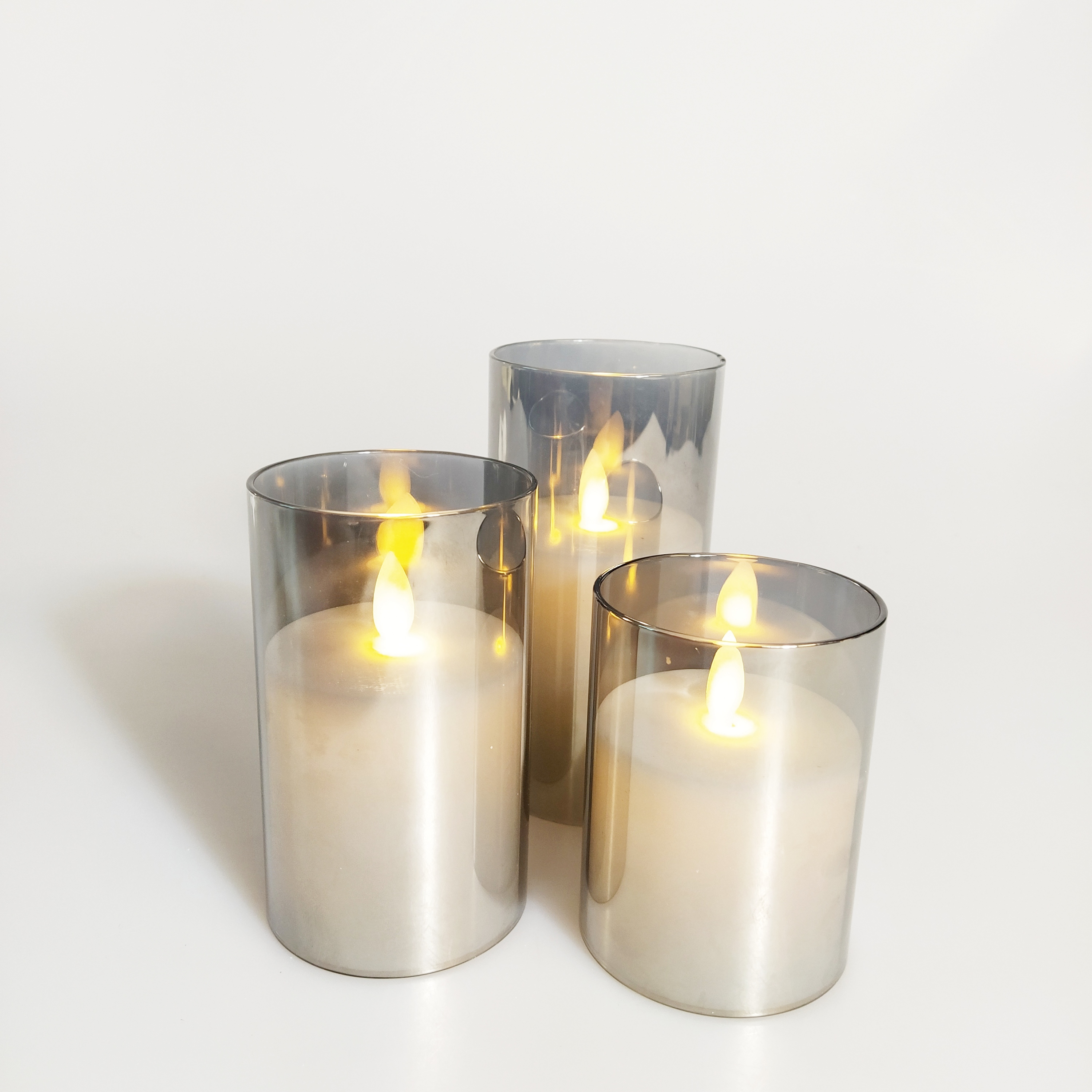 Newish hot selling 7.5*10CM  flame tube flicking function battery operated home decoration wax led candle glass jar