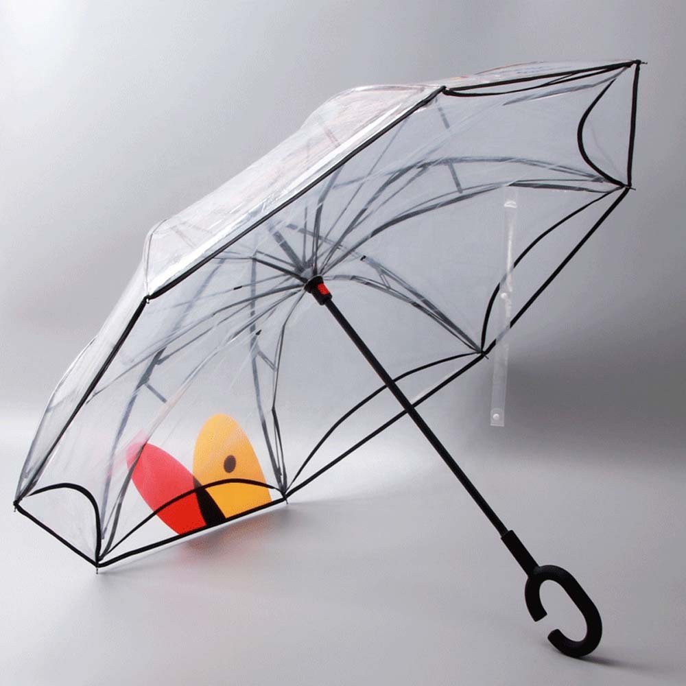 Promotional reverse double layer transparent umbrella manual open inverted umbrella фото