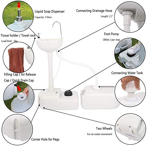 Outdoor Garden Portable Camping Hand Sink with 24L Recovery Tank