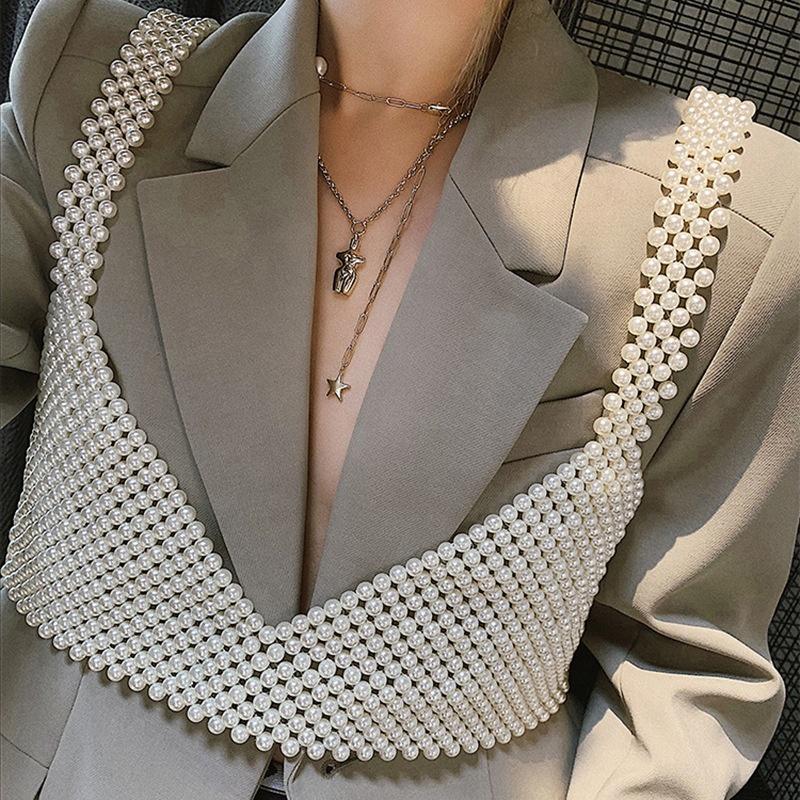 Las mujeres de alta calidad caliente versátil club sexy de perla halter tanque camisolas tops Ropa Accesorios