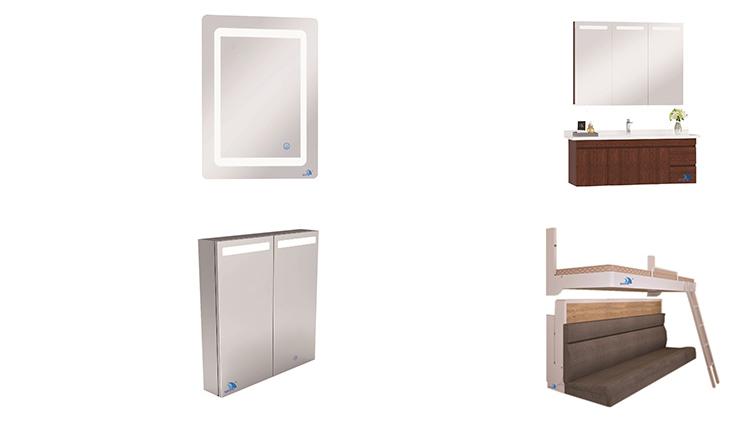 Новая современная деревянная цветная алюминиевая мебель для ванной комнаты, туалетный столик, зеркальный шкаф
