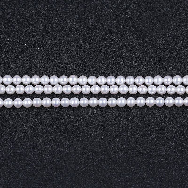 Wholesale 4-5mm White Round Shape Pearls Chinese akoya pearl strand