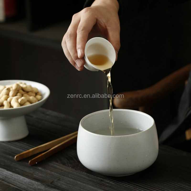 Luxury Matte Ceramic Chawan White Black Green Japanese Matcha Bowl