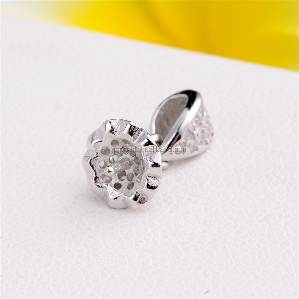 SSP30 Zircons Silver 925 Connector Round Pearl for DIY Jewelry Making Small Pendant Bail