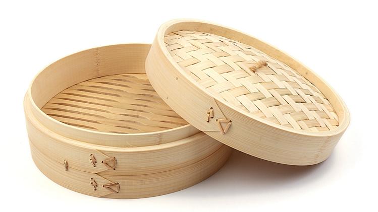 Dumpling Mini 10 inch Steel Bamboo Basket Steamer 2 Tier For Restaurant