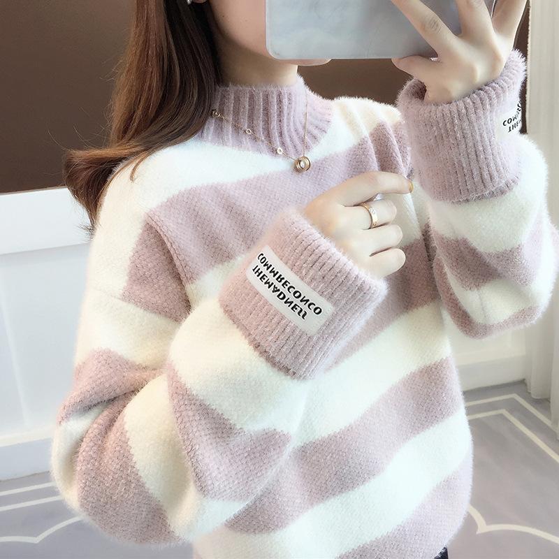 Grosir Baru Gaya Korea Tinggi Leher Musim Dingin Tebal Garis Sweater Wanita