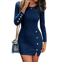 In Lager Taste Detail Langarm Club Blau Bodycon Sexy Mini Kleid Frauen