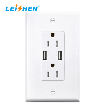 USA 125V 15A Temper Resistance Duplex Receptacle 3.6A/4.2A Intelligent Wall Outlet Charger Usb Socket