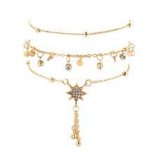 Tocona 3 шт./компл. модные ножные браслеты с натуральными кристаллами и звездами, браслеты для женщин, летние ювелирные аксессуары, 7118(Китай)