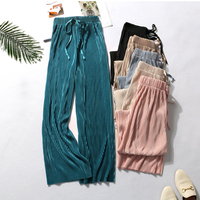 Summer Wide Leg Pants For Women Casual Elastic High Waist 2020 New Fashion Loose Long Pants Pleated Pant Trousers