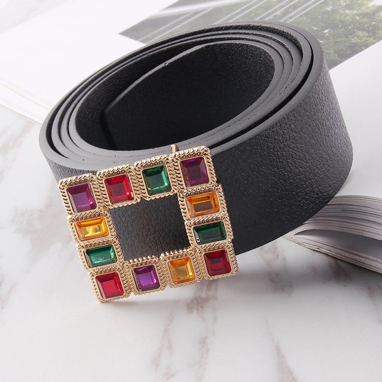 Women's Fashion Strap Belt With Rhinestone Buckle