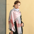 Hot Sale Women square shawl brushed cashmere scarf Plaid Scarf