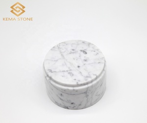 Customized Round Carrara White Marble Base for Gift and Trophy
