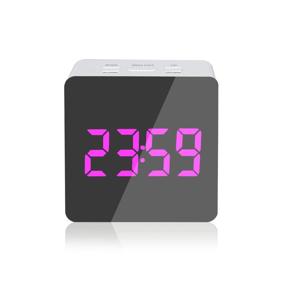 Desktop Orologio Elettronico Ha Condotto L'orologio del Fronte di Specchio Da Tavolo Digital Alarm Clock