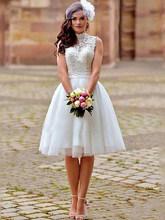 LORIE элегантные кружевные аппликации Короткие свадебные платья размера плюс с открытой спиной высокий вырез, свадебные платья Пляжные Бохо ...(China)