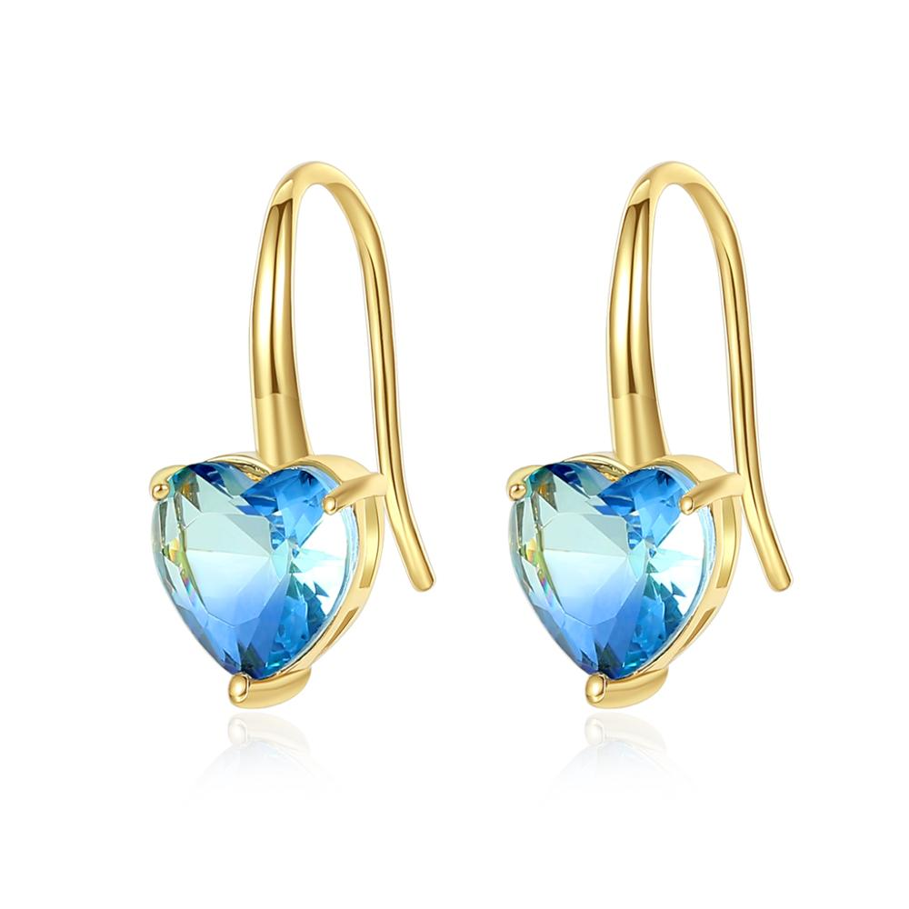 LUOTEEMI High Quality Colorful Heart Shape Stone <strong>Earring</strong> of <strong>Hook</strong> for Woman Party Engagement Jewelry