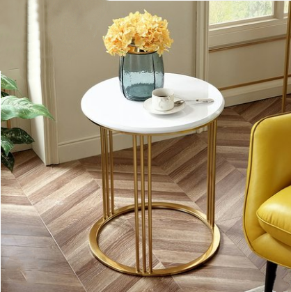 Round marble top modern style coffee table side table