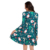 Christmas Fashion Round Neck Front Pocket High Waist Women Christmas Cartoon Dresses