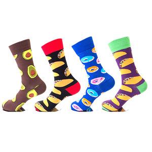 Wholesale high quality funny novelty happy fruit food design crew mens avocado socks custom logo
