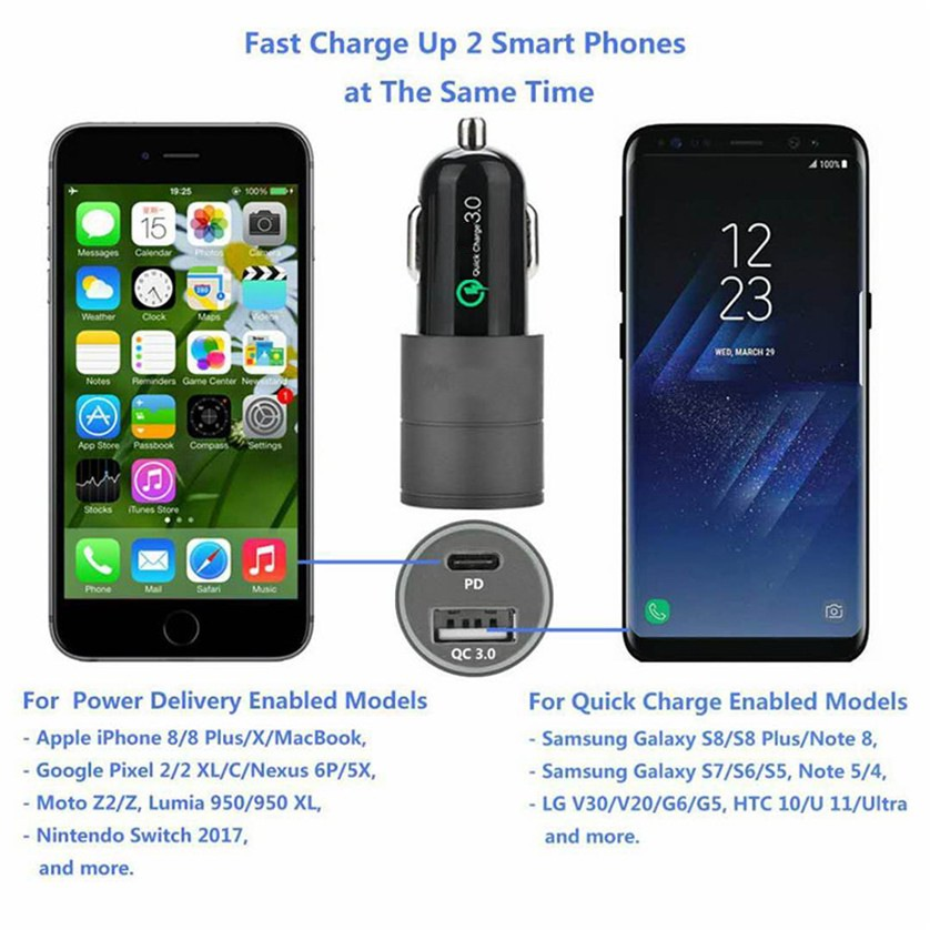 3A 2 Port QC 3.0 Dual USB USB-C PD Quick Fast Car Charger Adapter BLUE LED light For iPhone Samsung huawei xiaomi