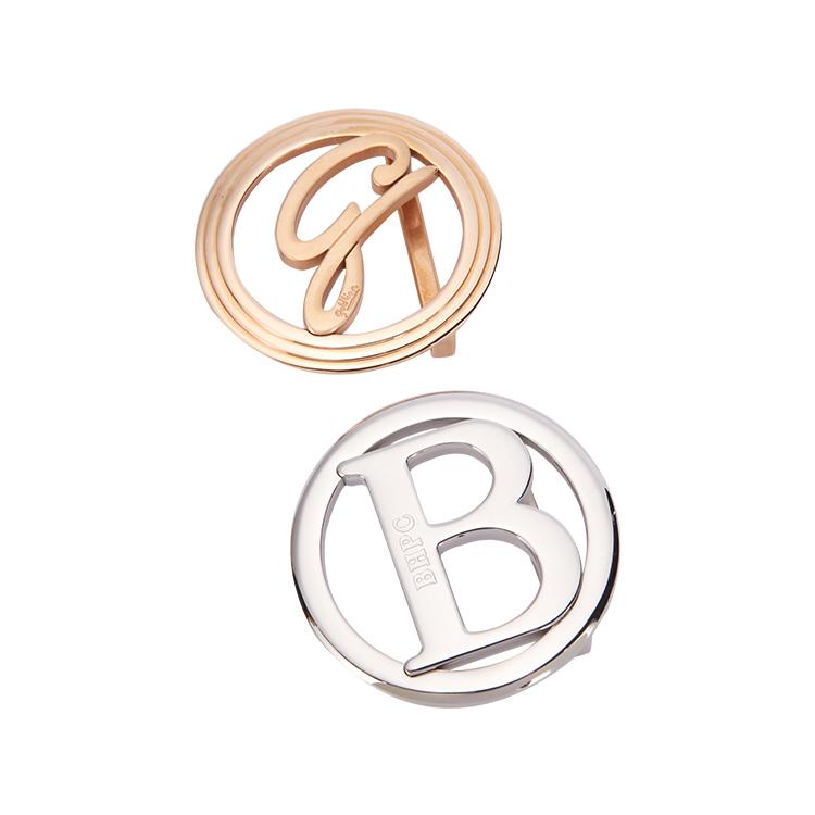BLU FLUT Sabuk Logo Mewah Kustom, Gesper Stainless Steel Emas Perak, Gesper Sabuk Logam