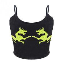Женский укороченный топ с рисунком дракона, черный облегающий укороченный топ с u-образным вырезом, модная летняя пикантная одежда без рука...(Китай)