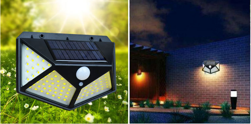 Passerby GY71 Solar light 100LED wall lighting four sides of courtyard solar lamp human body motion sensor waterproof stair lamp