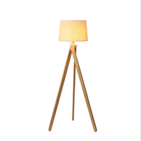 Nodic living room bedroom designer white cloth wooden led tripod floor lamp