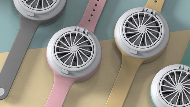 ウェアラブルファン子供のための usb 小型のポータブルファン充電式電気時計ポケット小型ファン