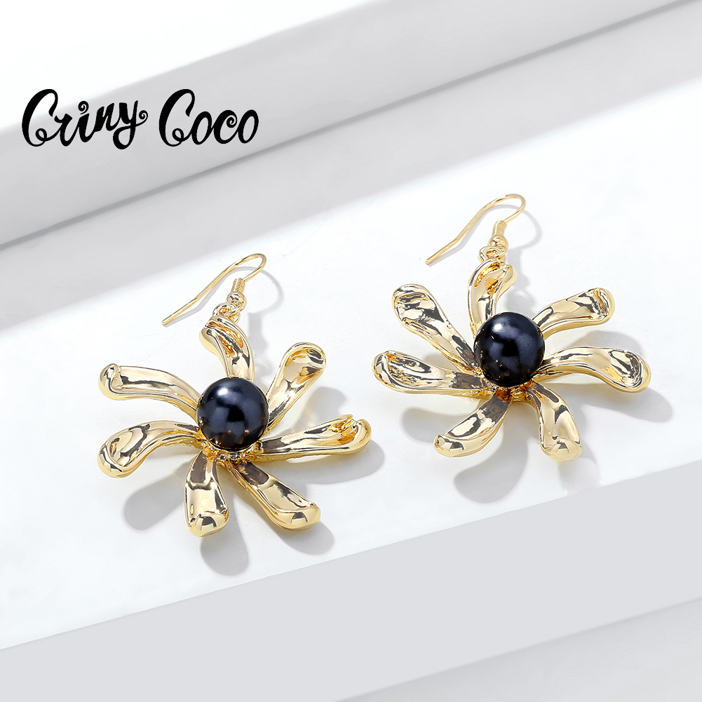 Cring CoCo 2020 Hot Rotating <strong>Flowers</strong> <strong>Earrings</strong> Big Plant <strong>Gold</strong> Jewelry Holiday Statement Gifts Drop Hawaiian <strong>Earring</strong> for Women