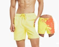 Custom Mens Beach Temperature-Sensitive Color-Changing Blank Swim Trunks Quick Dry Surfing Running Board Shorts