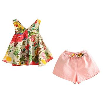 Girls dress summer suit short-sleeved princess dress a floral dress set with shorts and tops
