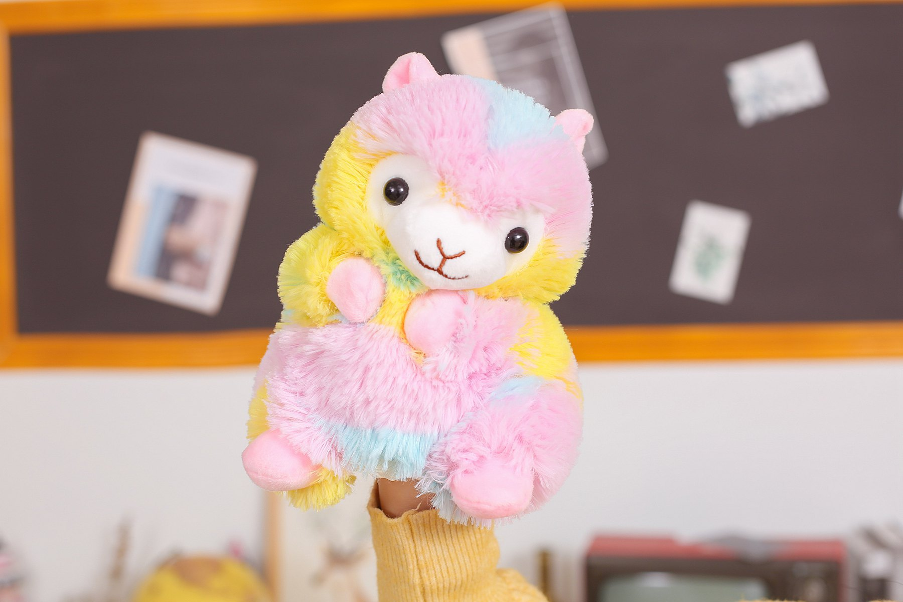 new product educational baby toy rainbow alapaca llama plush hand puppet for tell story