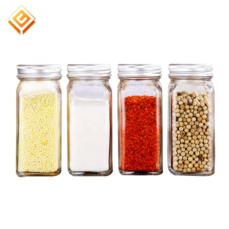 120ml 4oz French Square seasoning Bottles 6oz empty glass Spice Jars with airtight silver Lids Shaker Tops labels label funnel