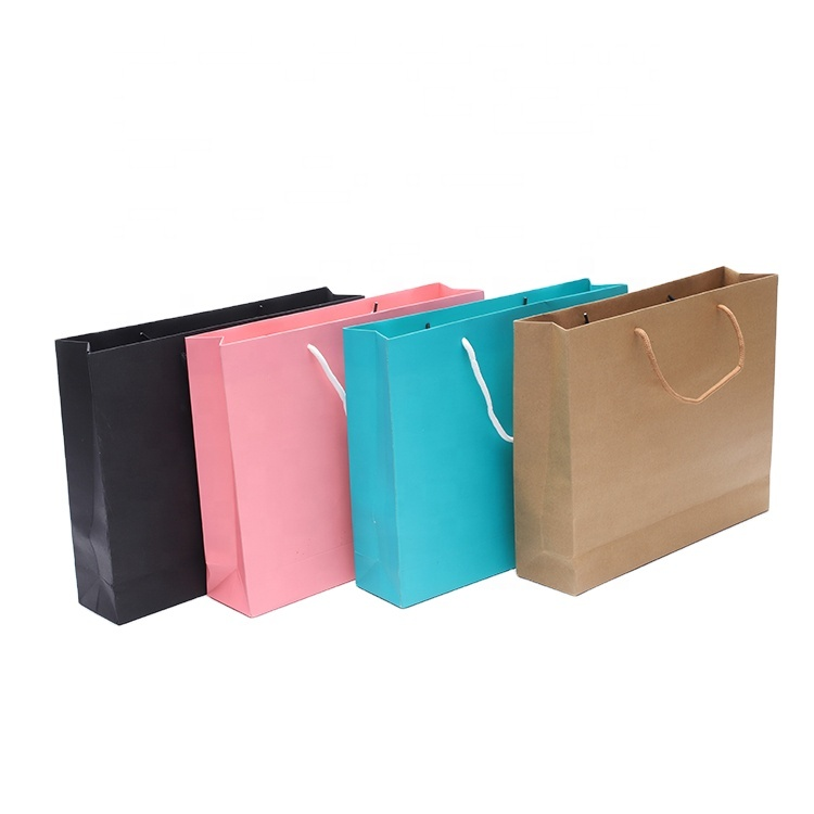 Wholesale Cheap Printed Flat Custom Made Shopping Clothing Colorful Brown Craft Gift Luxury Paper bag