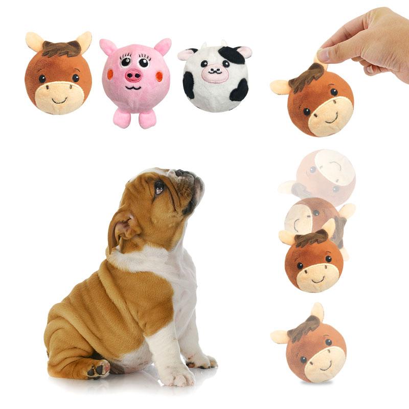 ゴム製ぬいぐるみでペットの犬の噛むボールを跳ねる新しいデザインのペットのおもちゃサプライヤー