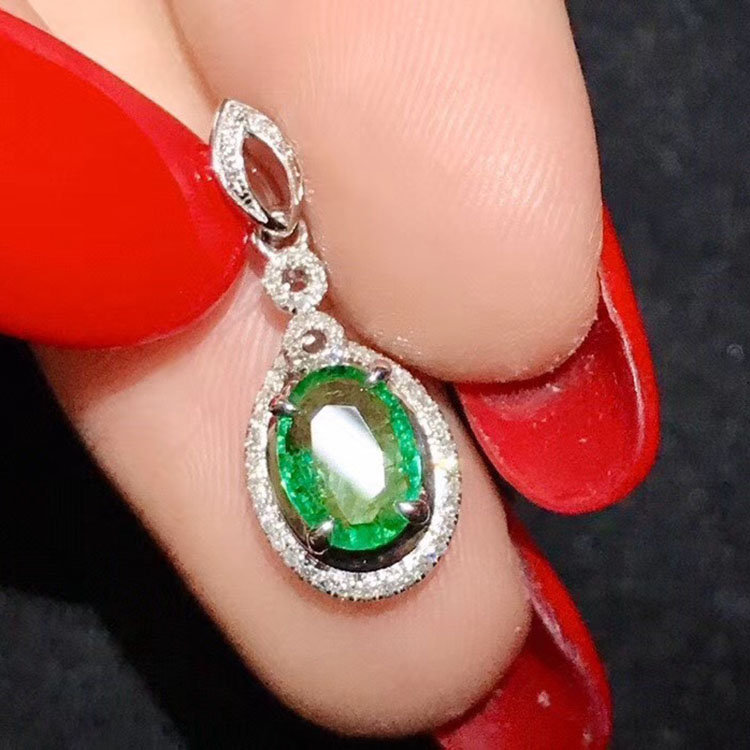 Weeding gift <strong>natural</strong> <strong>emerald</strong> 18K white gold <strong>pendant</strong>