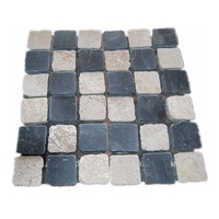 DIY Chess Design Black and Cream Travertine Back Mesh Mosaic Tiles Limestone Mosaic Tiles for Wall or Floor Decoration
