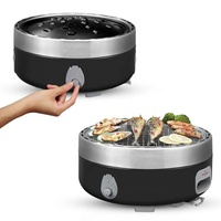 Dia36cm Portable korea Smokeless Charcoal Grill with adjustable fan system and non -stick grill pan for Outdoor barbecue