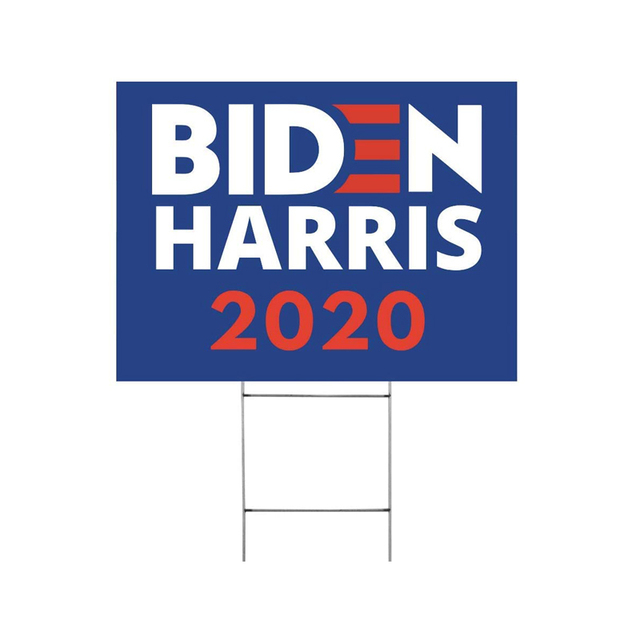 "Biden Harris 2020 Yard Sign 24"" x 18"" Large Corrugated Plastic Yard Sign with H-Frame Stake"