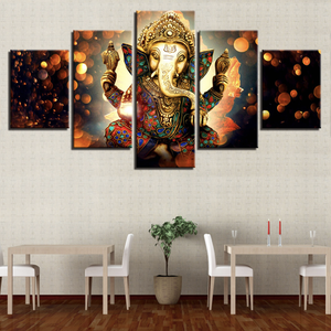 Modern Painting Wall Art 5 Piece Indian Buddha Statue Hindu Ganesh God Elephant Framed Canvas Print For Office Decor