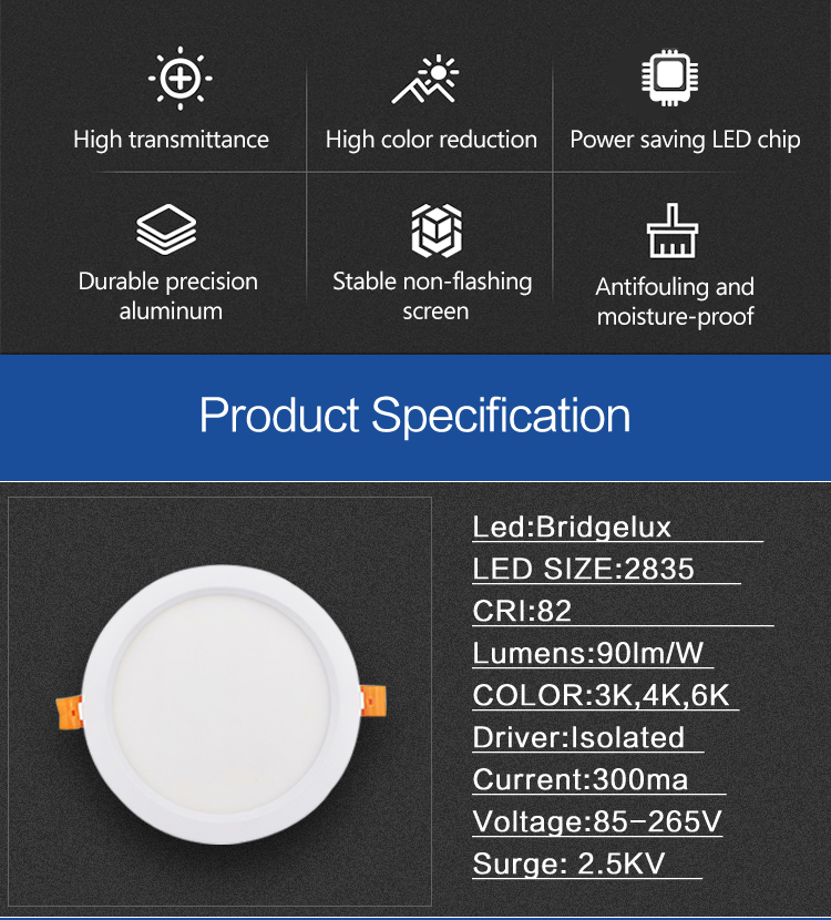Tunable ceiling 18w led panel light latest design