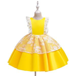 Western style kids dresses for wedding   flower girl dress patterns for party    fancy yellow  dresses for  years old baby girl