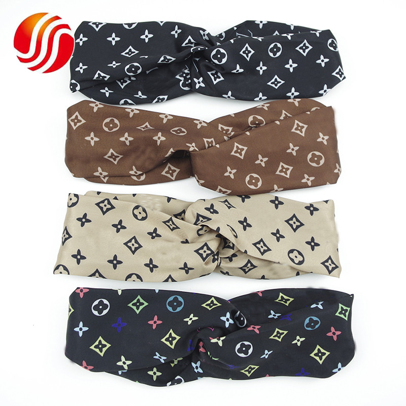 Fashion Letter Designer Luxury Elastic Yoga Hair Bands Makeup <strong>Headband</strong> for Girls