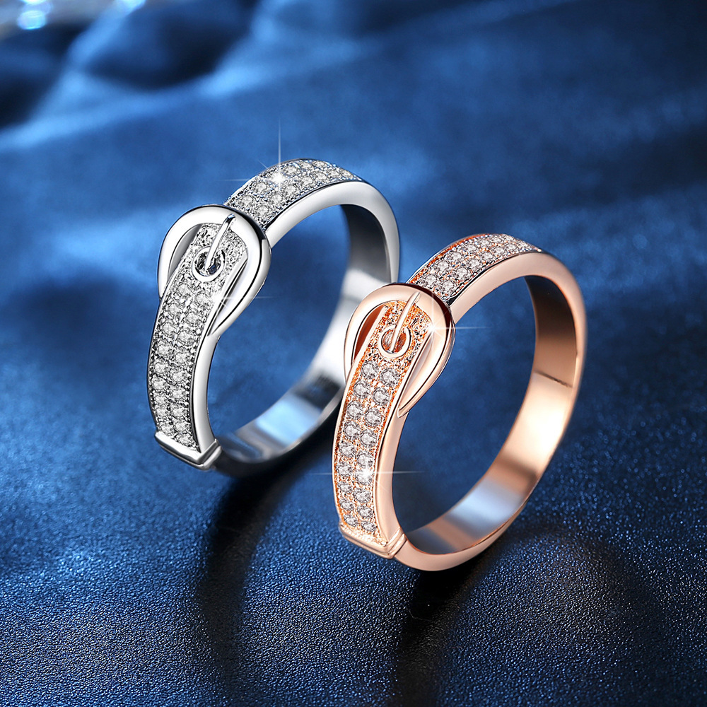 Personalized design belt shape brass zircon couple ring for valentines day gift