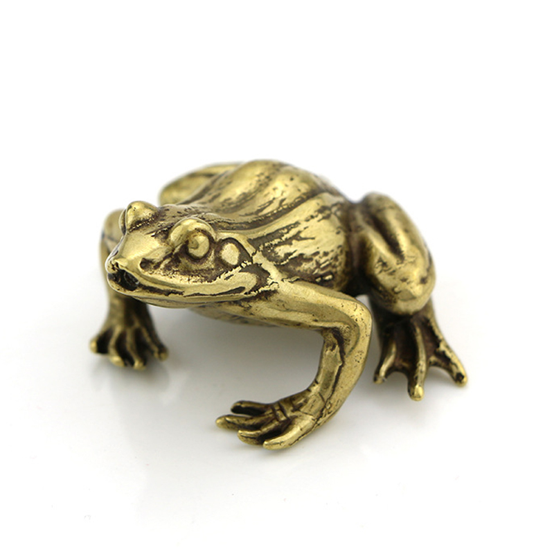 Vintage messing frosch statue retro desktop decor figurine