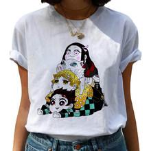 Harajuku забавная японская аниме Kimetsu No Yaiba Demon Slayer футболка Графический Топ футболки уличная одежда в стиле панк для женщин(China)